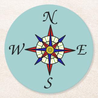 Compass Rose Aqua Round Paper Coaster