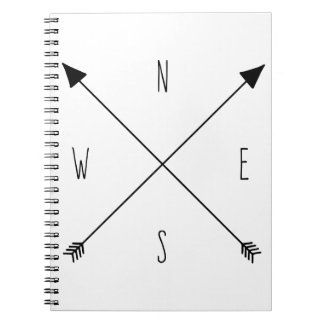 Compass Rose Arrows - North South East West Notebooks