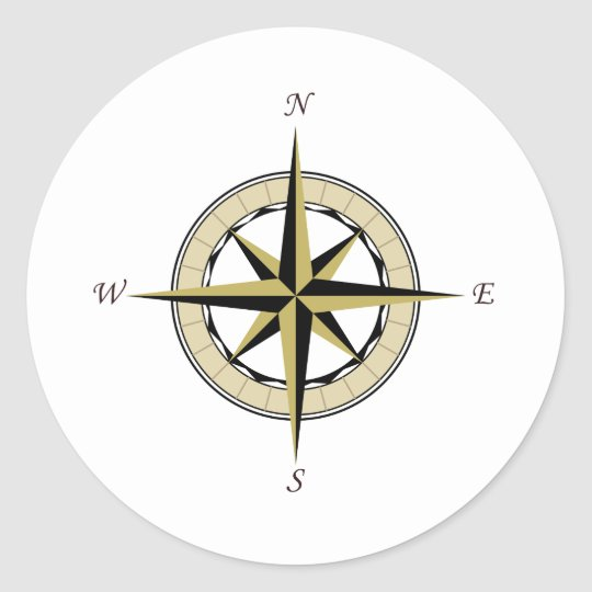 Compass Rose Art Classic Round Sticker
