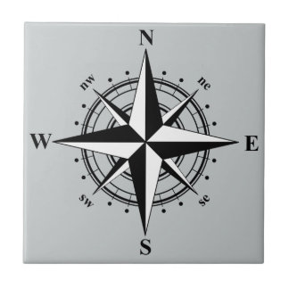 Compass Rose Black & White Tile