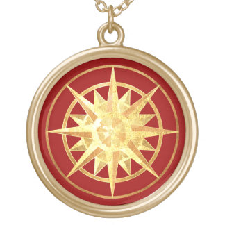 Compass Rose Gold Plated Necklace
