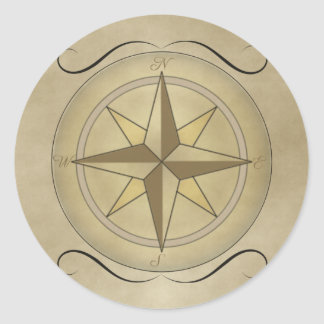 Compass Rose in Gold Classic Round Sticker