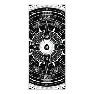 Compass Rose - L. Rectangle Invite Card (Black)