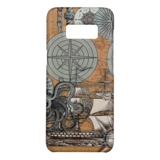 Compass Rose Nautical Art Print Ship Octopus Case-Mate Samsung Galaxy S8 Case