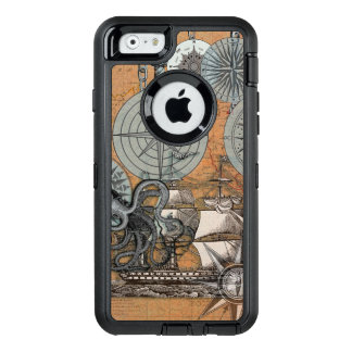 Compass Rose Nautical Art Print Ship Octopus OtterBox Defender iPhone Case