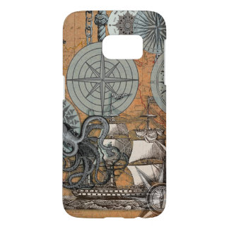 Compass Rose Nautical Art Print Ship Octopus Samsung Galaxy S7 Case