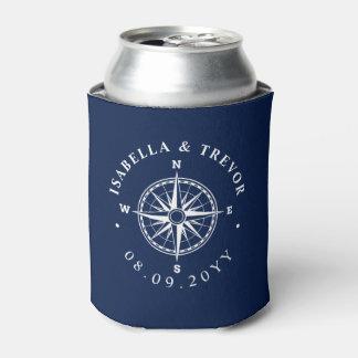 Compass Rose Nautical Wedding Can Cooler