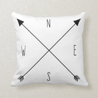 Compass Rose - North South East West Arrows Throw Pillow