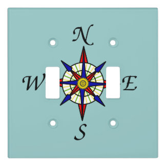 Compass Rose on Aqua Light Switch Cover