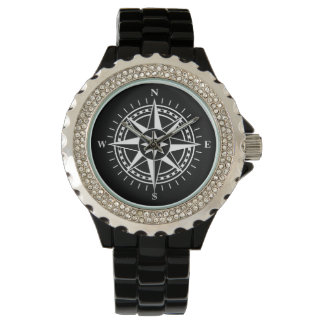 Compass rose on black background watch