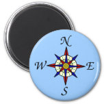 Compass Rose on Blue 2 Inch Round Magnet