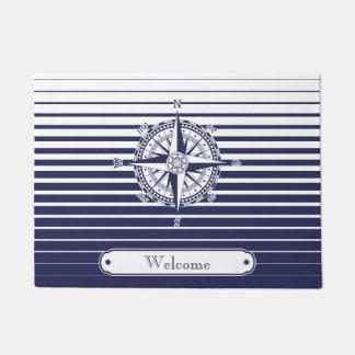 Compass Rose on Blue Stripes Doormat