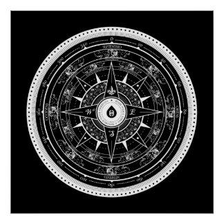 Compass Rose - Poster (Black)