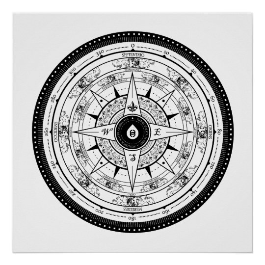 Compass Rose - Poster (White)