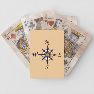 Compass Rose Tan Bicycle Playing Cards
