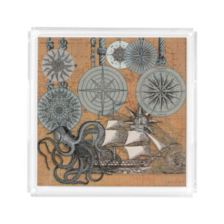 Compass Rose Vintage Nautical Art Print Graphic Acrylic Tray