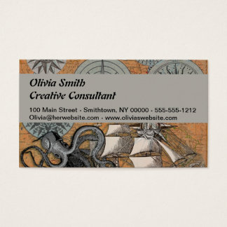 Compass Rose Vintage Nautical Art Print Graphic Business Card