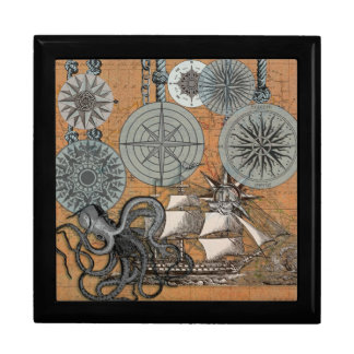 Compass Rose Vintage Nautical Art Print Graphic Gift Box
