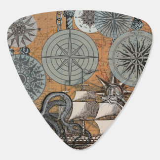 Compass Rose Vintage Nautical Art Print Graphic Guitar Pick