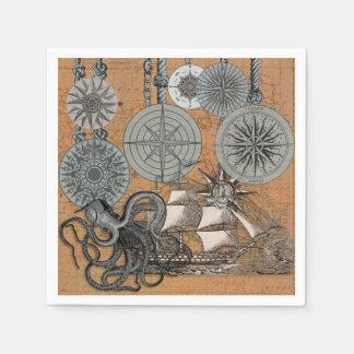 Compass Rose Vintage Nautical Art Print Graphic Paper Napkins