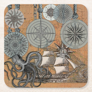 Compass Rose Vintage Nautical Art Print Graphic Square Paper Coaster