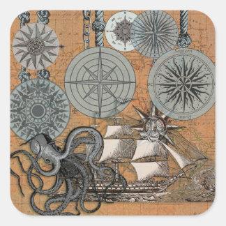 Compass Rose Vintage Nautical Art Print Graphic Square Sticker