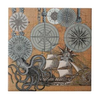 Compass Rose Vintage Nautical Art Print Graphic Tile