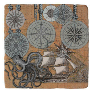 Compass Rose Vintage Nautical Art Print Graphic Trivet