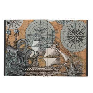 Compass Rose Vintage Nautical Octopus Ship Art