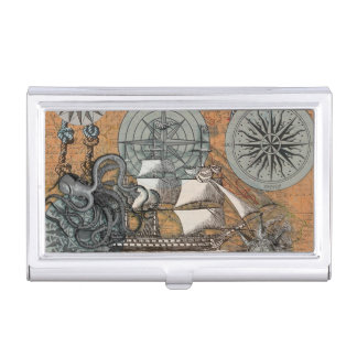 Compass Rose Vintage Nautical Octopus Ship Art Business Card Holder