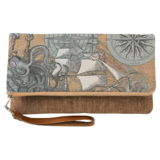 Compass Rose Vintage Nautical Octopus Ship Art Clutch