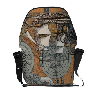 Compass Rose Vintage Nautical Octopus Ship Art Commuter Bag