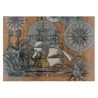 Compass Rose Vintage Nautical Octopus Ship Art Cutting Board