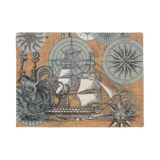 Compass Rose Vintage Nautical Octopus Ship Art Doormat