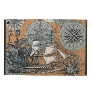 Compass Rose Vintage Nautical Octopus Ship Art iPad Air Cover
