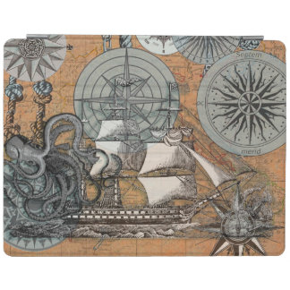 Compass Rose Vintage Nautical Octopus Ship Art iPad Cover