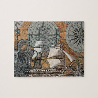 Compass Rose Vintage Nautical Octopus Ship Art Jigsaw Puzzle