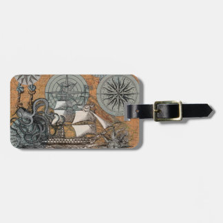 Compass Rose Vintage Nautical Octopus Ship Art Luggage Tag