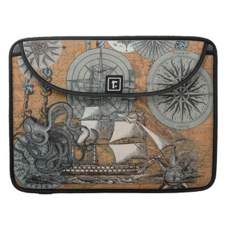 Compass Rose Vintage Nautical Octopus Ship Art Sleeves For MacBooks