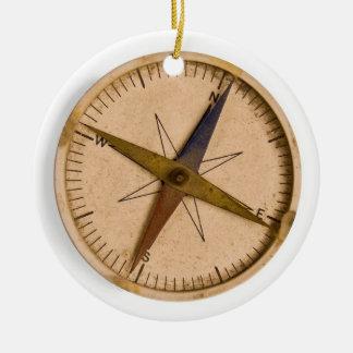 compass round ceramic ornament