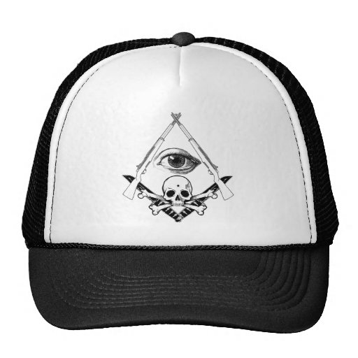 compass & Square with M1 Garand and KA-BAR Skull Mesh Hat