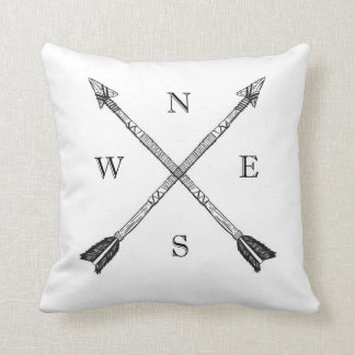 Compass Tribal Arrow Throw Pillow Reversable Geo