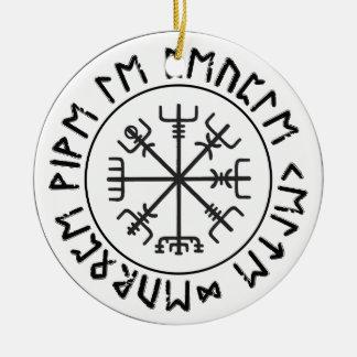 Compass Viking Round Ceramic Ornament