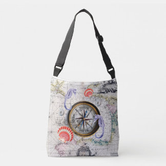 compass vintage map crossbody bag