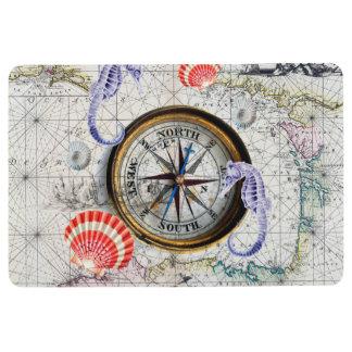 compass vintage map floor mat