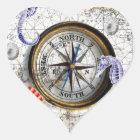 Compass Vintage Nautical Heart Sticker