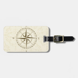 compass vintage south west east luggage tag