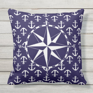 Compass White and Blue Nautical Anchor Pattern Throw Pillow