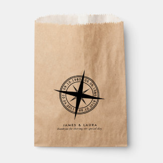 Compass with your special dates wedding favor bag