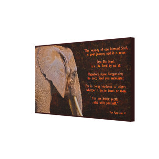 Compassion - Elephant & Literary Quote - Rustic BG Canvas Print